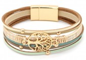 B-B19.7 B104-003 Leather Bracelet with Tree of Life Green-Gold