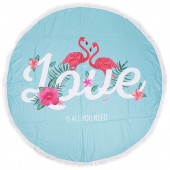 BT003-001-269 Roundie Beach Towel 150cm Flamingos Love Polyester Blauw-Roze