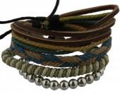 C-D18.2 E032-006 Unisex Bracelet Set Rope-Wood-Leather