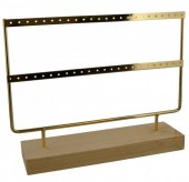 Y-A6.1 PK424-003 Wood with Metal Earring Display 27x22x7cm Chrome Gold