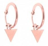 E015-012B Stainless Steel Earrings 16mm with Triangle Rose Gold