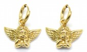 D-A2.2 E2043-007G S. Steel 10mm Earrings with 20mm Angel Gold