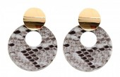 D-B16.2  E220-009 Earrings with Snakeskin 5.5x4cm Light Brown