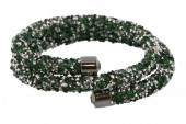 F-D1.5   Double Crystal Bangle B001ST-002 Silver Green
