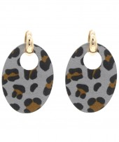 E220-005 Trendy Leopard Earrings Oval Grey