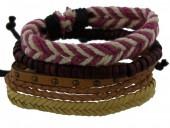 D-E6.3 E032-002 Unisex Bracelet Set Rope-Wood-Leather