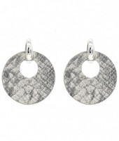 E220-004 Trendy Snakeskin Earrings Round Grey