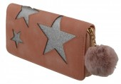 S-G5.3 WA009-002 Wallet with Glitter Stars and Pompon 19x10cm Pink