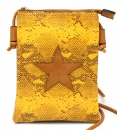 T-O7.1 BAG326-001 PU Festival Crossbody Bag Snake with Star 20x15cm Yellow