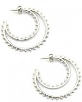 A-D9.2 E2033-013S S. Steel Earrings 4cm with Dots Silver