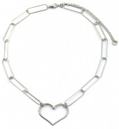 E-A18.4 N2033-009S S. Steel Necklace 35mm Heart Silver