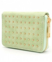WA214-004 Small PU Wallet with Golden Studs Green