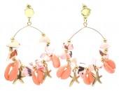 G-B3.1 E536-113B Earrings Shells 6x4cm Pink