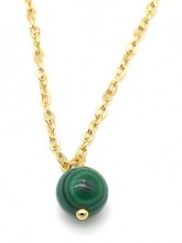 A-B20.5 N2121-016G S. Steel Necklace with 8mm Stone MalachiteA-B20.5 N2121-016G S. Steel Necklace with 8mm Stone Malachite