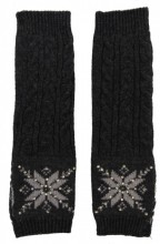 L-F6.2 Hand and Arm Warmers with Crystals Grey