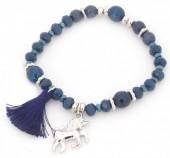 B-C2.6 B130-011 Elastic Bracelet with Unicorn  Charm and Tassel Blue