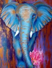 Q-F7.1 X513 Diamond Painting Set Elephant 40x30cm
