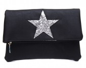 Q-H6.1 BAG012-009 PU Flip Over over with Glitter Star 28x21cm Black