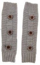 J-B8.1  Hand and Arm Warmers with Crystals and Buttons Grey