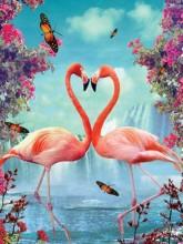 Y-E4.3  X302 Diamond Painting Set Flamingos 40x30cm