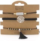 H-A2.5 B019-001 Bracelet Set 3pcs Dreamcatcher and Tassel Black