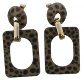 D-A6.3  Square Acrylic Earrings with Leopard Print 6.4x3cm Green