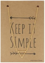 N1759-005 Stainless Steel Necklace Thin Triangle Gold