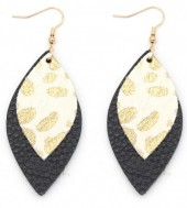 A-C21.3  E006-001 Leather Earrings with Animal Print Black-White-Gold