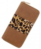 S-D2.3  WA008-001 Wallet with Leopard Print 19x10cm Brown
