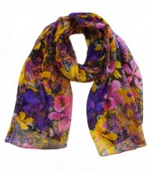 R-A2.1 Pareo Scarf Flowers 170x100cm Purple