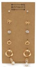 F-C17.1  E426-021 Earring Set 6 Pairs Gold