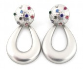 C-A6.3 E426-017 Earrings with Multi Color Crystals 45x25mm Silver