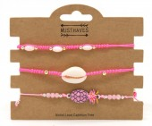 C-C16.3  B221-003 Bracelet Set 3pcs Pineapple and Shell Pink