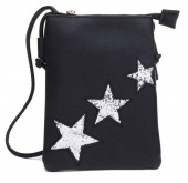 Q-K8.2 BAG012-001 PU Bag with Glitter Stars 25x15cm Black