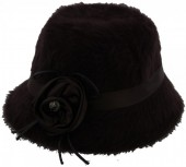 S-B5.1 Woolen Hat with Ribbon and Flower Dark Brown