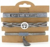 B1202-208 3pcs PU Bracelet Set with Tree of Life Grey