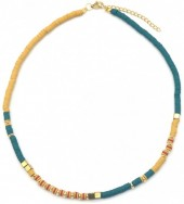 E-C5.2 N1941-001E Surf Necklace with Metal Beads Yellow-Blue