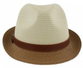 R-A3.1  HAT210-006 Fedora Hat with PU Strap Brown-White