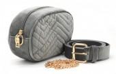 T-M3.2 BAG212-002 Velvet Combination Bag incl Belt 19x12x7cm Grey