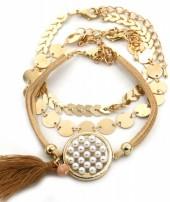 C-E6.2 B538-003 Bracelet Set 3pcs Brown-Gold