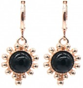 G-E5.4  E532-004R Earrings Dots Black-Rose Gold