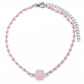 B-A5.1 B426-004 Bracelet Pink Beads Silver