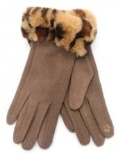 T-I3.2 GLOVE403-115D Gloves Fluffy Leopard Light Brown