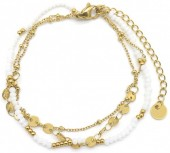 F-B18.3  B1561-101G S. Steel Bracelet with Glass Beads and Coins Gold