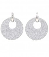 E220-003 Trendy Sparkling Earrings Round Silver