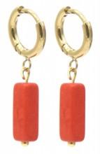 B-D7.5 E301-068G S. Steel Earrings with Stone 1.2x2.5cm Copper