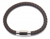 A-G1.2 B1643-001 S. Steel with Leather Bracelet 19cm Brown