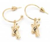 C-E6.5 E426-008 Earrings 20mm with Giraffe 20mm Gold