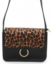 Q-N8.2  BAG202-001 PU Bag with Leopard Print 20x14x8cm Black