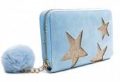 Q-J4.2 WA009-002 Wallet with Glitter Stars and Pompon 19x10cm Blue